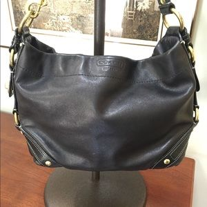 Coach Carly black leather shoulder Hobo
